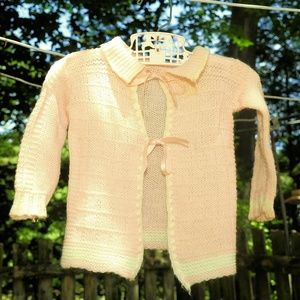 VTG Peach Toddler Girls Ribbon Tie Sweater 9-12M